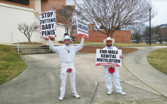 Bloodstained Men volunteers protest male circumcision on main campus