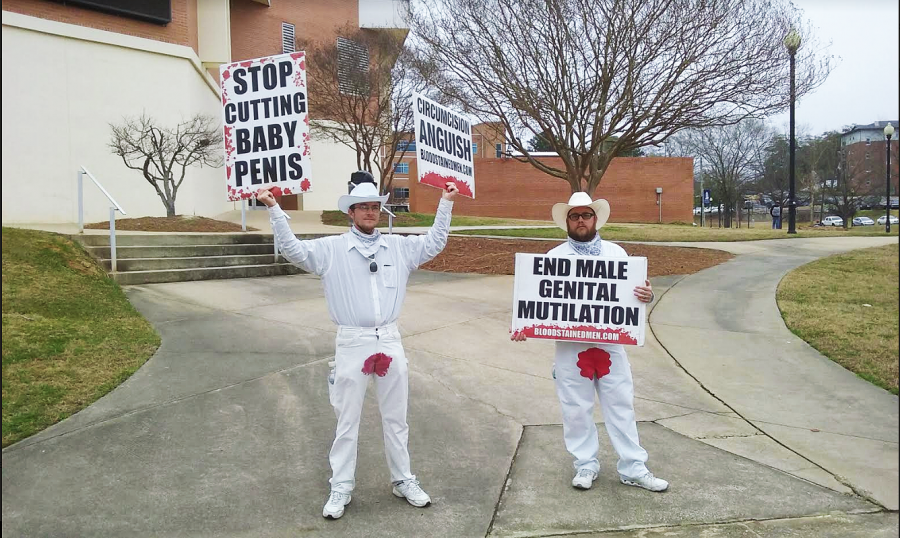 Bloodstained+Men+volunteers+protest+male+circumcision+on+main+campus