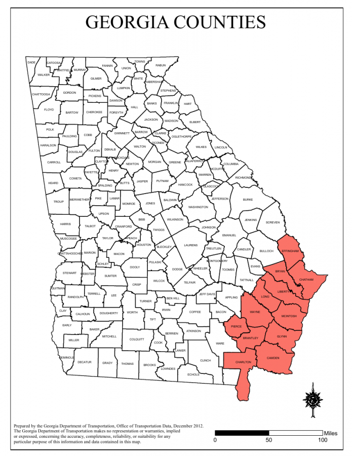 Highlighted are the counties declared to be in a state of emergency. Original map courtesy of Georgia Department of Transportation.