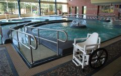 This PVC pipe wheelchair and ramp allow students to access the shallow end of the pool. Photo courtesy of Macy Frazier.