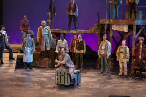 "The cast of ""Peter and the Starcatcher"" close out Act I. Photo courtesy of Joshua Harp."