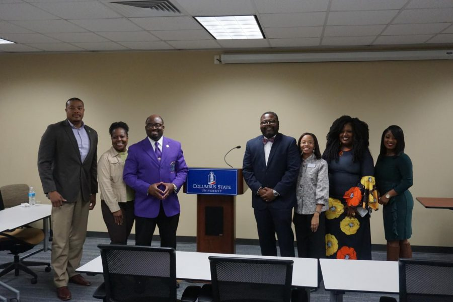 Don Thomas, Pat Hugley Green, Rev. Marlon Scott, Sr., Teddy Reese (MC), Michelle Jones (librarys head of reference services), Sherricka Day, and Brya Berry. Photos by Phillip Yancey.