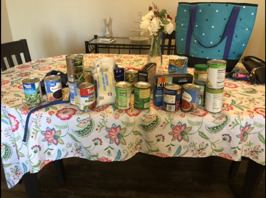 A collection of food provided by the Food Pantry.