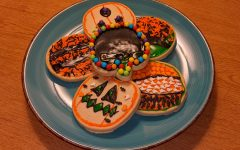 Halloween-themed treats made using leftover candies.
