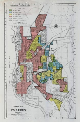 Map of redlined areas of Columbus, 1937, provided by Mapping Inequality.