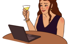 A person with long hair sits at a table across from an open laptop. They are holding up a martini glass as if to share a toast with the laptop.