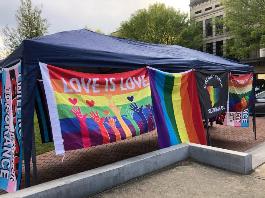 Photo of Pride flags at a Columbus Pride Festival by Vinh Huynh.