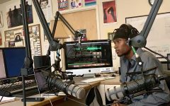 Bryant Lydell Griggs Jr. in the studio recording for Uproar radio.